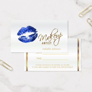 Blue Glitter Lips Appointment Schedule on White 2 Business Card