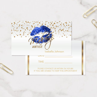 Blue Glitter Lips Appointment Schedule on White Business Card