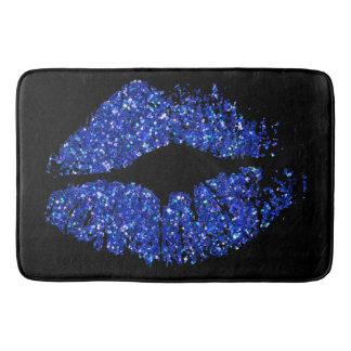 Blue Glitter Lips Bath Mat