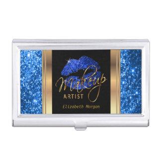 Blue Glitter Lips on Gold & Black Business Card Holder