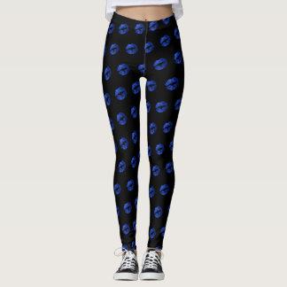 Blue Glitter Lipstick Pattern Leggings