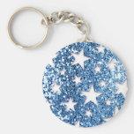Blue Glitter Look Stars Keychains