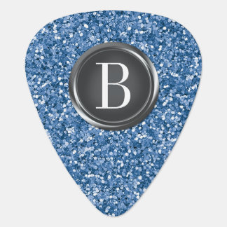 Blue Glitter Monogram Guitar Pick