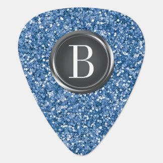 Blue Glitter Monogram Guitar Pick
