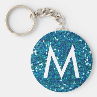 Blue glitter monogram keychain