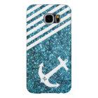 Blue Glitter Nautical Anchor with Monogram