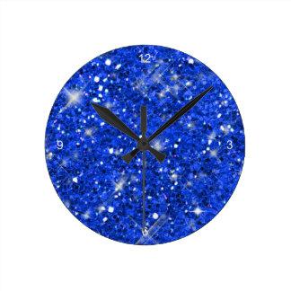 Blue Glitter Pattern ID144 Clock