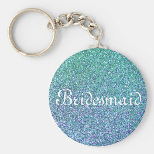 Blue Glitter Personalised Bridesmaid Basic Round Button Key