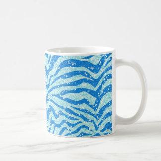 Blue Glitter Print Zebra Stripe Bling Pattern Mugs