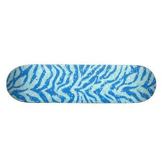 Blue Glitter Print Zebra Stripe Pattern 20.6 Cm Skateboard Deck