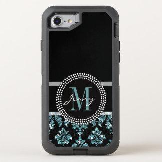 Blue Glitter Printed, Black Damask OtterBox Defender iPhone 8/7 Case