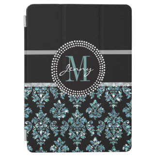 Blue Glitter Printed, Black Damask Personalized iPad Air Cover