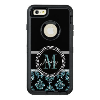 Blue Glitter Printed, Black Damask Personalized OtterBox Defender iPhone Case