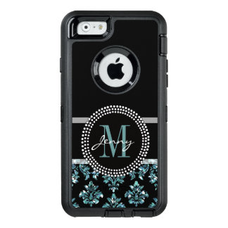 Blue Glitter Printed, Black Damask Personalized OtterBox iPhone 6/6s Case