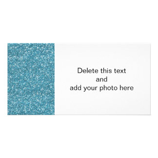 Blue Glitter Printed Customised Photo Card