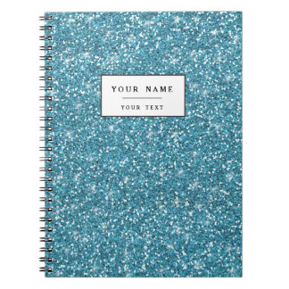 Blue Glitter Printed Notebook