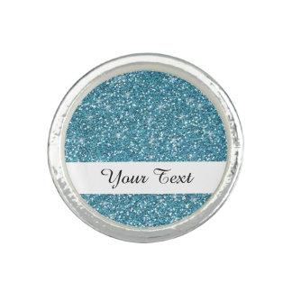 Blue Glitter Printed Rings