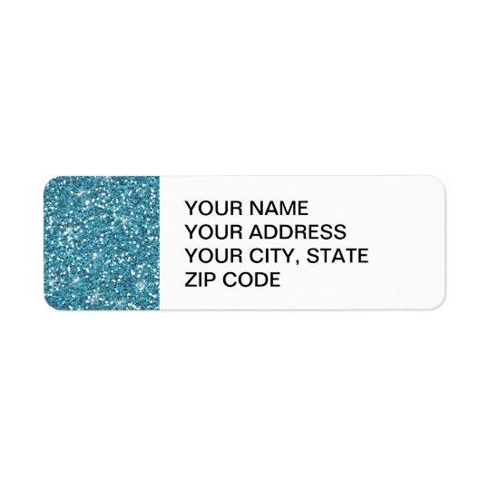 Blue Glitter Printed Return Address Label