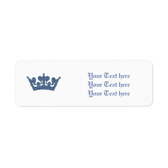 Blue Glitter Royal Crown Prince Address Labels