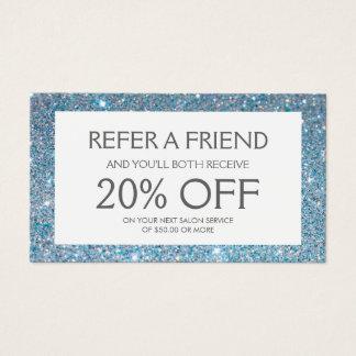 Blue Glitter Salon Referral Card