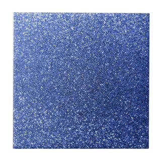 Blue glitter small square tile