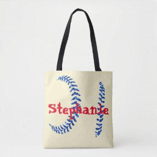 Blue Glitter Softball Stitches Tote Bag