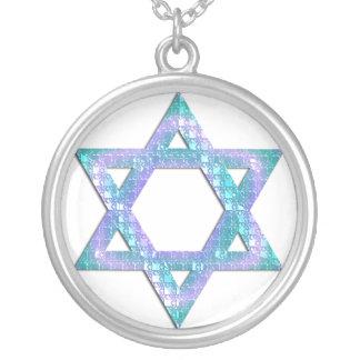 Blue Glitter Star of David Necklace Design