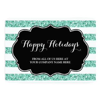 Blue Glitter Stripes Christmas Cards Business