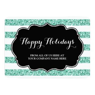 Blue Glitter Stripes Christmas Cards Business 13 Cm X 18 Cm Invitation Card