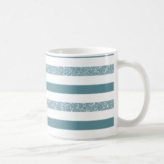 Blue Glitter Stripes Classic White Coffee Mug