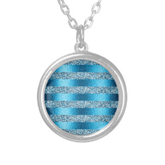 Blue Glitter Stripes Personalized Necklace