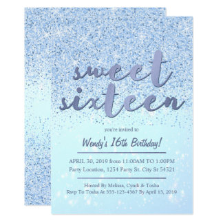 Blue Glitter Sweet 16 Birthday Invitations