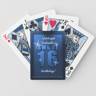 Blue Glitter Sweet 16 Birthday Playing Cards