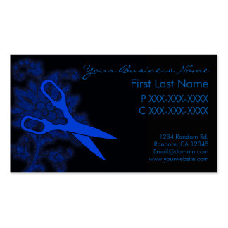 Blue glitter swirl hair cut business cards