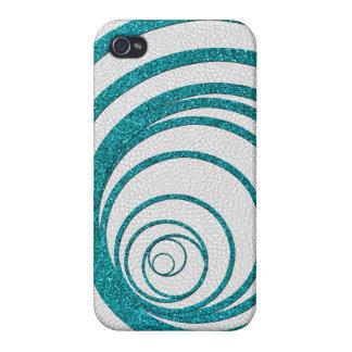 Blue Glitter Swirly iPhone 4 Case