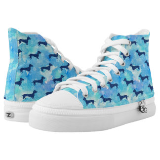 Blue Glitter Watercolor Dachshund Pattern High Tops