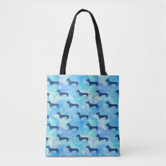 Blue Glitter Watercolor Dachshund Pattern Tote Bag