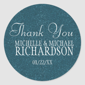 Blue Glitter Wedding Favor Round Sticker