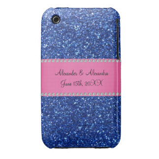 Blue glitter wedding favors iPhone 3 Case-Mate cases