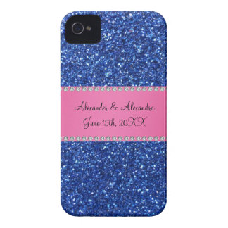 Blue glitter wedding favors iPhone 4 Case-Mate cases