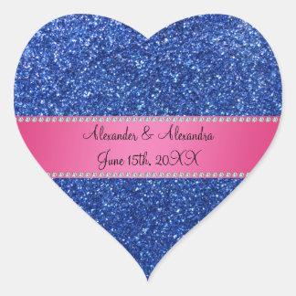 Blue glitter wedding favors heart sticker