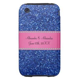 Blue glitter wedding favors iPhone 3 tough cover