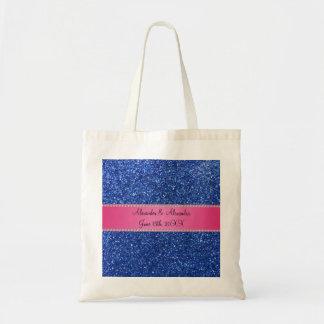 Blue glitter wedding favors tote bag