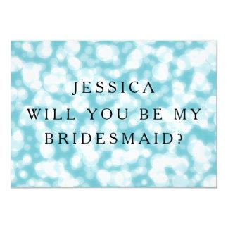 Blue Glitter Will You Be My Bridesmaid 13 Cm X 18 Cm Invitation Card