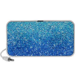 Blue Glitters Sparkles Texture iPod Speaker