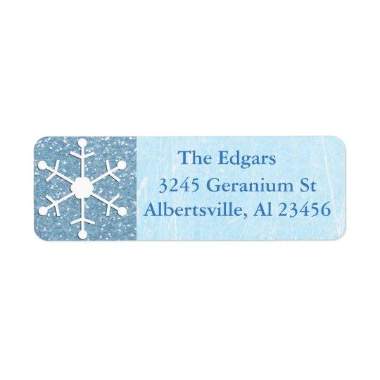 Blue Glittery Snowflake Address Return Label