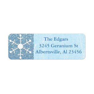 Blue Glittery Snowflake Address Return Label Return Address Label
