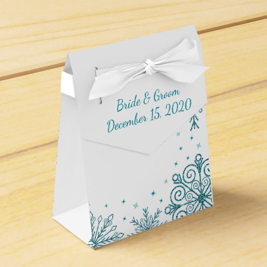 Blue Glittery Snowflakes Winter Wedding Favour Box