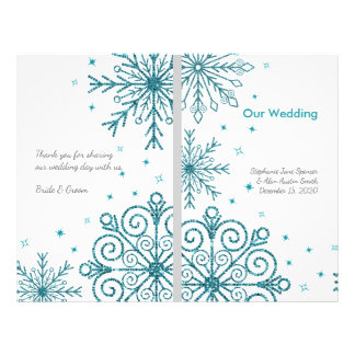 Blue Glittery Snowflakes Winter Wedding Programs 21.5 Cm X 28 Cm Flyer