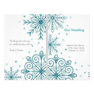 Blue Glittery Snowflakes Winter Wedding Programs Flyer